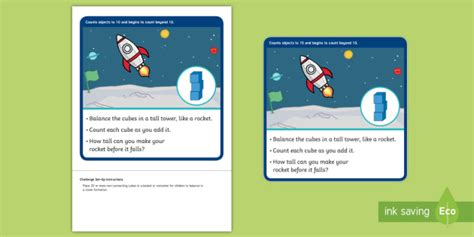 * New * Eyfs Maths Counting Challenge Building A Space Rocket