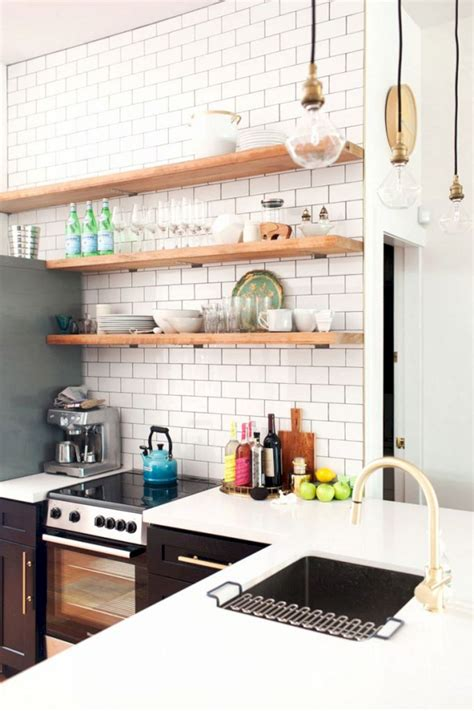 Open Kitchen Shelves With Wood Open Kitchen Shelves With