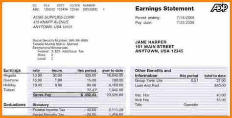 adp pay stub generator simple salary slip