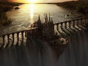 Fantasy, Art, Waterfall, Castle, Bridge, Sunset, Wallpapers