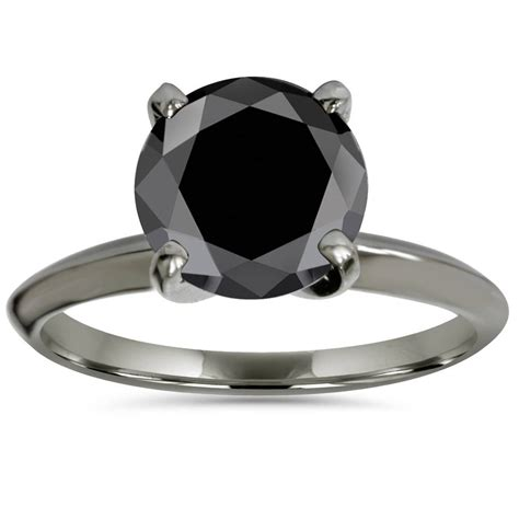 2ct treated black diamond solitaire engagement ring 14k black gold ebay