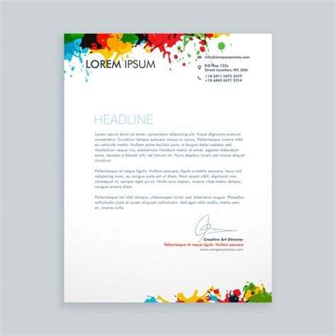 letter  colorful ink splash letterhead vector