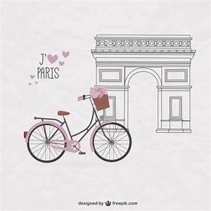 Bicicleta bonita sobre fondo de París Descargar Vectores gratis