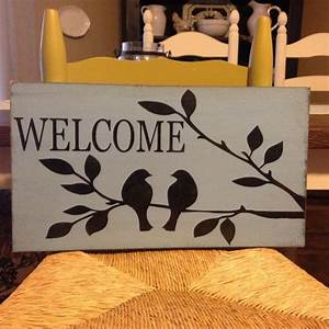 Welcome Sign With Birds On Tree Branch, Primitive, Rustic ...