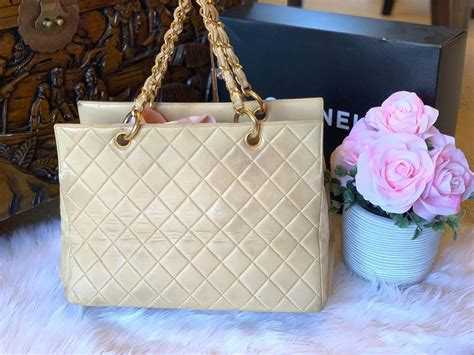 chanel shopping quilted beige lambskin leather tote tradesy