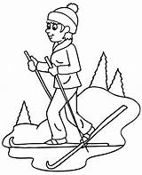 Coloring Skiing Pages Popular Country sketch template