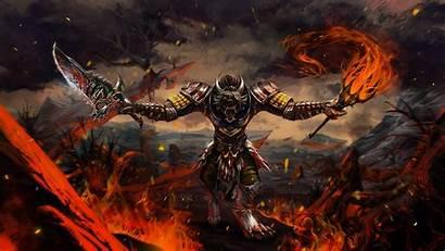 Fire Torch Armor Monsters Swords Dark Fantasy