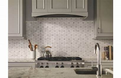Cecily Polished Tile Thassos Marble Mosaic Hexagon