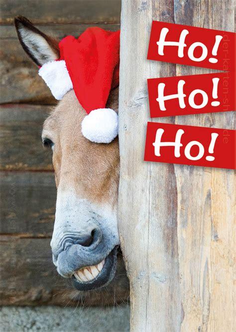 postkarte weihnachtskarte witziger esel pferd ho ho ho