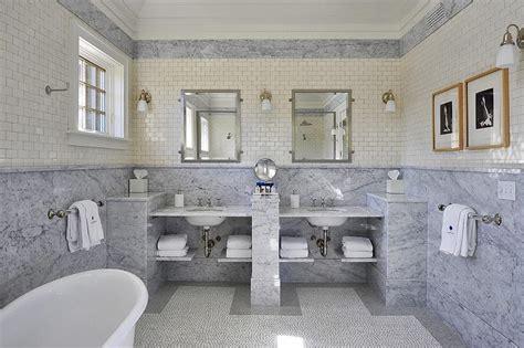 bathroom ideas black and white marble slab wainscoting cottage bathroom hummel