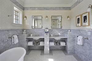 Marble Slab Wainscoting - Cottage - Bathroom - John Hummel