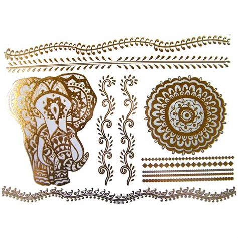 tatouage temporaireet ephemere metallique dore elephant