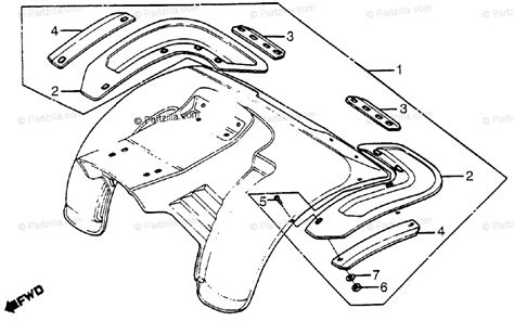 Honda Atv Oem Parts Diagram For Rear Splash Guard