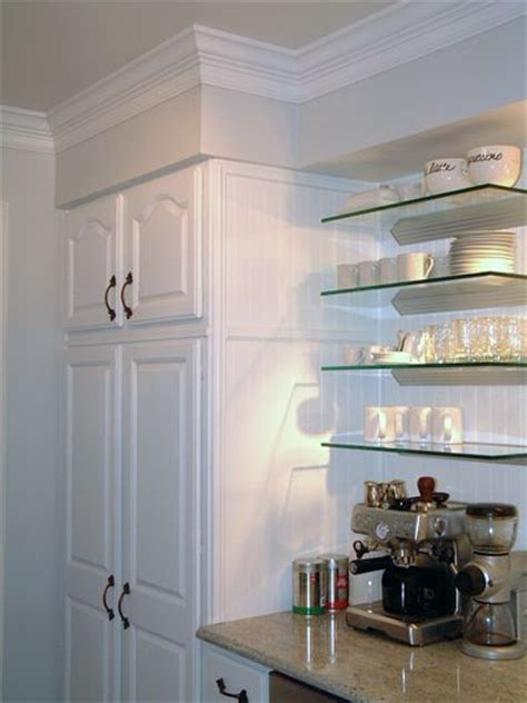 Kitchen soffit, Glass shelves and Coffee stations on Pinterest
