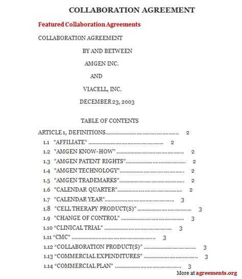 collaboration agreement sample collaboration agreement