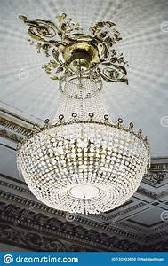 Large, Crystal, Chandelier, Hanging, From, The, Ceiling, Stock, Photo