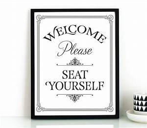 Funny bathroom wall art printable please seat yourself