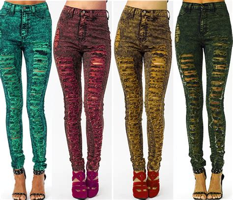 High Waist Color Acid Wash Skinny Distressed Ripped