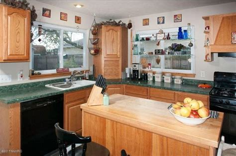 kitchen  wood cabinets  green