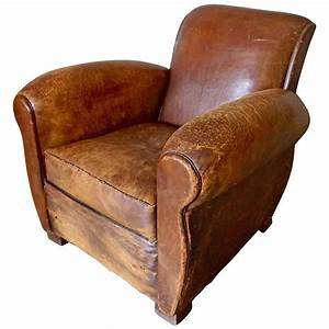 Distressed Art Deco French Cognac Leather Club Chair ...