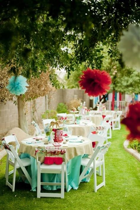tiffany blue red paper pom poms garden wedding party