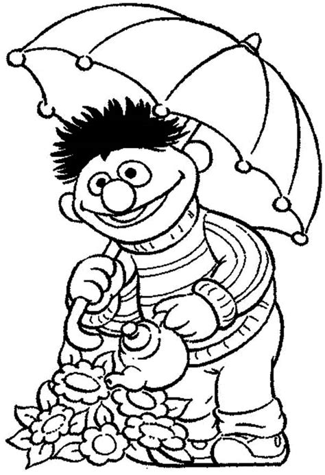 Watering Plants Coloring Pages Boy Flowers In The Garden
