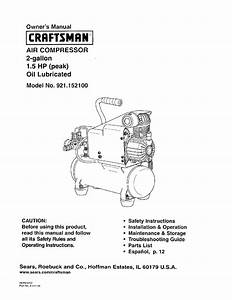Craftsman Air Compressor 921 1521 User Guide