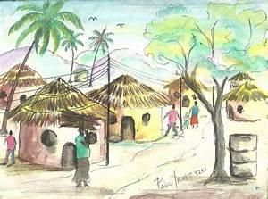 Paul Iroye Imaginative Composition  Village Scene