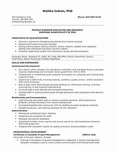 resume for project manager position With sample resume for managing director position