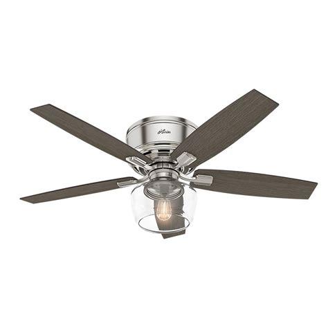 low profile ceiling fan led hunter bennett 52 in led low profile brushed nickel