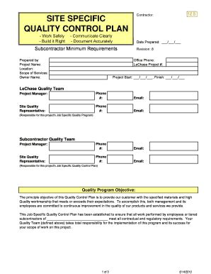 contractor quality plan template call log template forms fillable printable sles for pdf word pdffiller