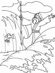 Moses Parting The Red Sea Coloring Page - Coloring Home