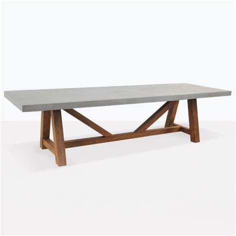 raw concrete trestle tables outdoor dining seats