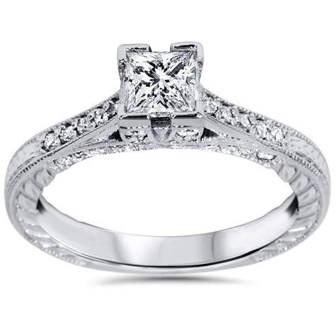 1ct princess cut vintage engagement ring accent 14k white gold ebay