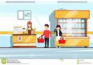 Saleswoman In Supermarket Interior. People Standing In ...