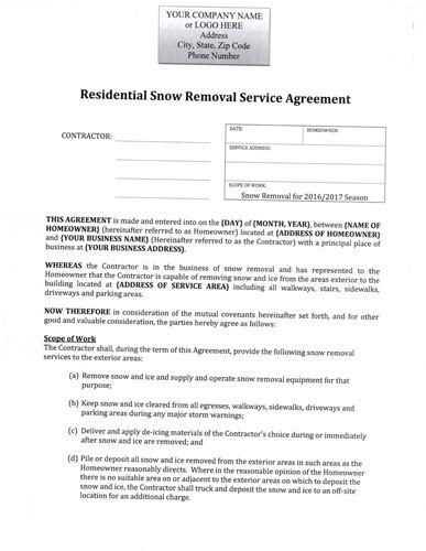 Residential Snow Removal Contract Template by Snow Removal Contract Snow Removal Flyer Templates Snow
