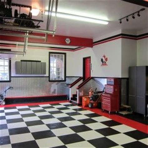 small nice  garage design  black  white tile