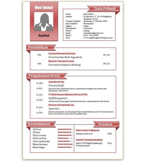 Template Resume Menarik by Contoh Cv Microsoft Word Gontoh