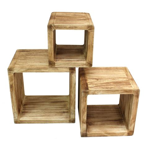 cube regal holz 3er set regal cube 44x35cm holzregal holz board used design w 252 rfelregal natur levandeo