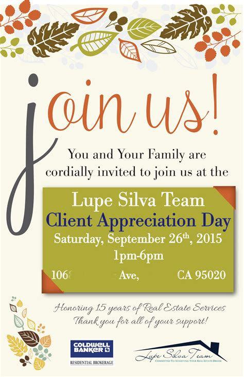 lupe silva team client appreciation party front invite