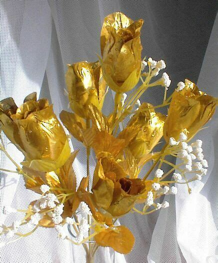gold silk roses buds wedding bouquet flowers