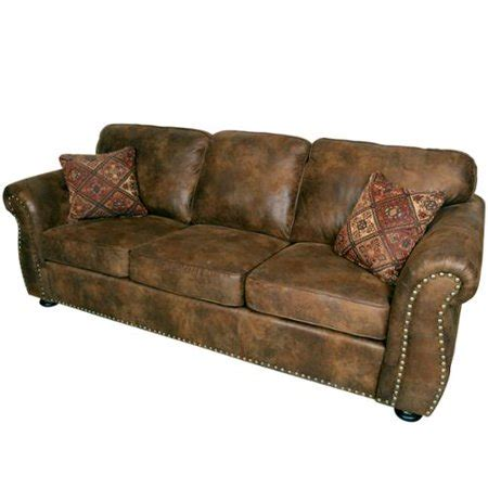 microfiber faux leather sofa porter elk river brown microfiber faux suede leather sofa with 2 woven accent pillows walmart