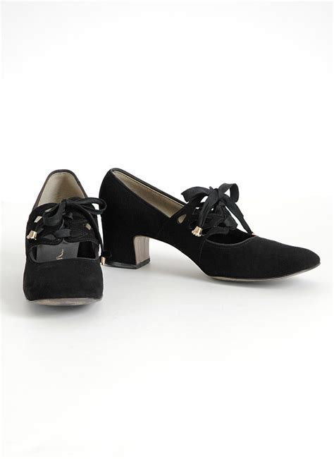 1960s Carlton black suede mary jane shoes   Hemlock