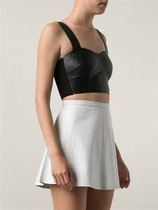 Love leather Bustier Crop Top in Black | Lyst