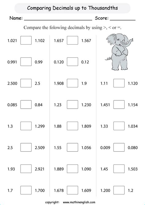 compare decimal thousandths printable grade  math worksheet