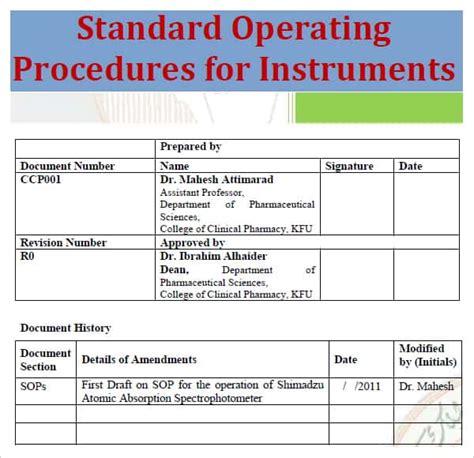 standard operating procedure template excel  formats