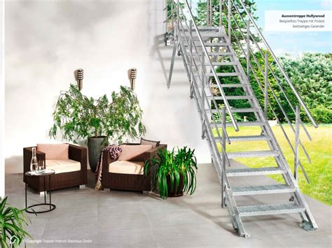 außentreppen metall mit podest au 223 entreppe metall 2 gel 228 nder 11 stufen streckgitter