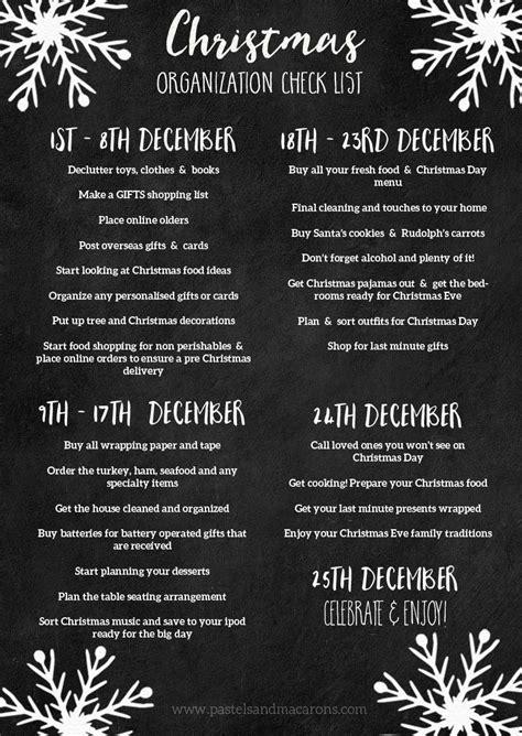 christmas organization printable checklist  tips