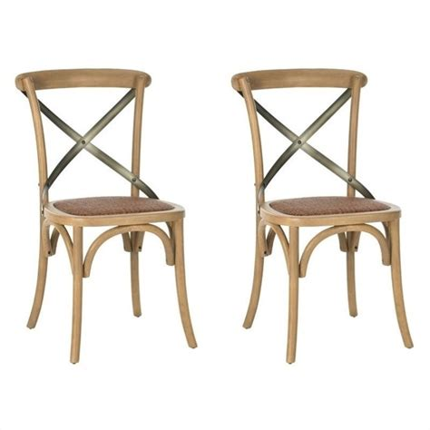 safavieh eleanor x back dining chair in weathered oak set