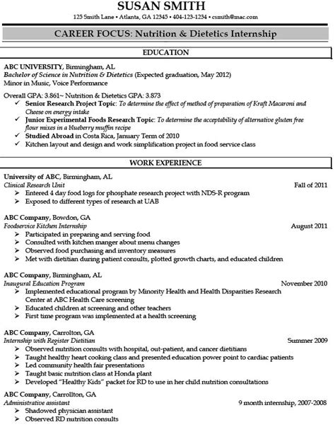 dietetics internship resume sle registered dietitian resume sle http jobresumesle 875 registered dietitian resume